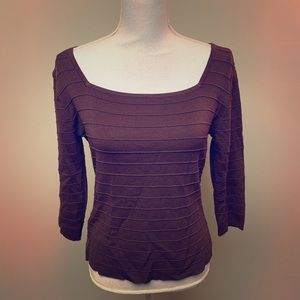 Ribbed Brown Stretch Fitted Low Top